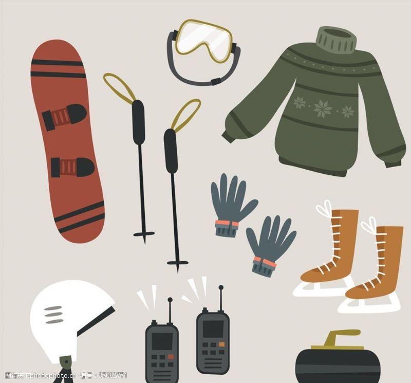 创意冬季运动器材和服饰
