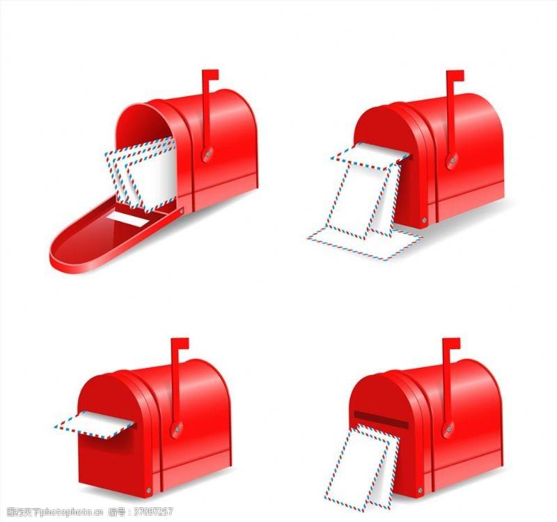 寄信红色信箱矢量素材