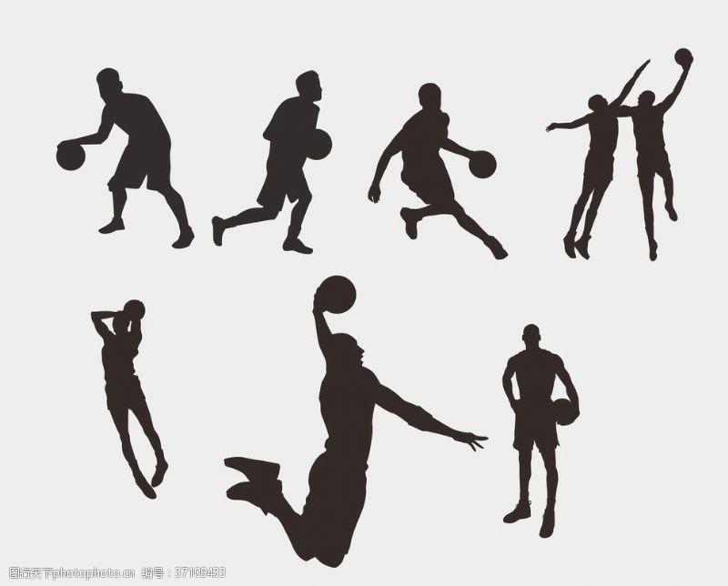 篮球剪影图片