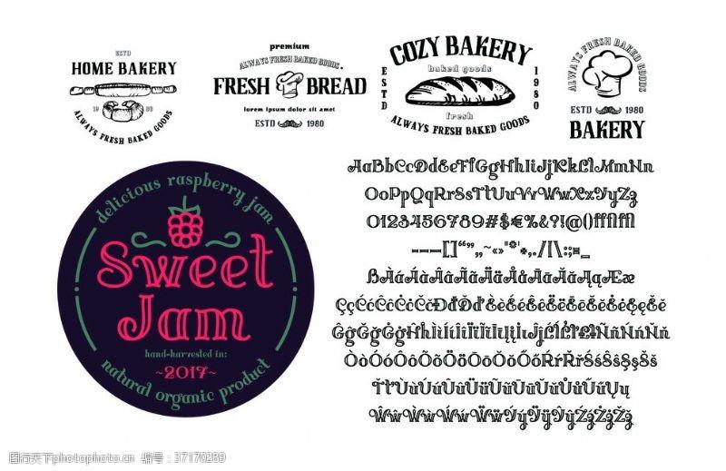 水果瓶贴空心英文字体logo徽章