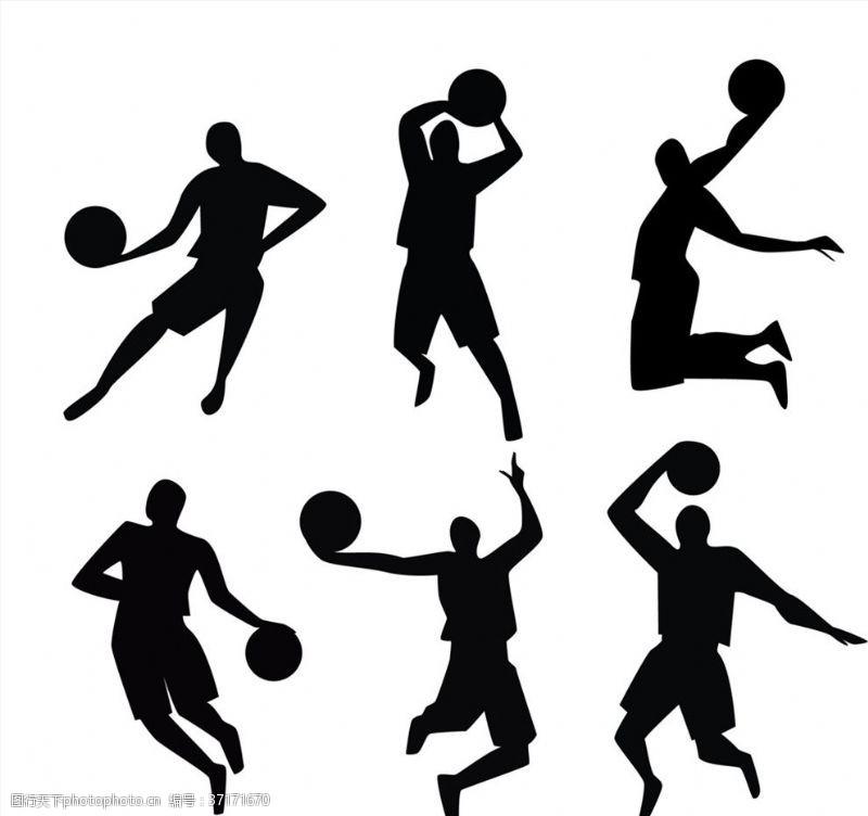 篮球剪影动感篮球人物剪影矢量图