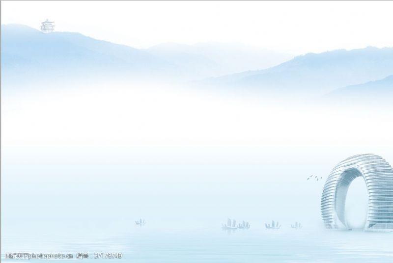 太湖山川水墨封面