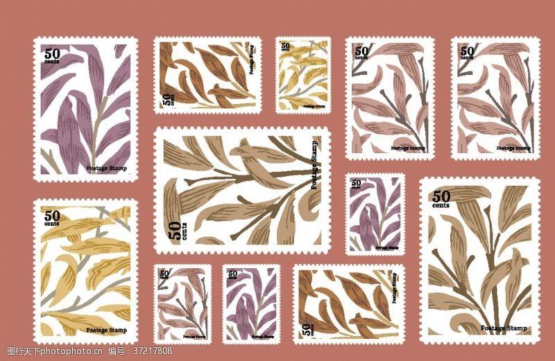 花卉邮票矢量