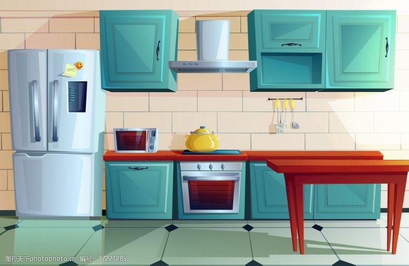 建筑家居卡通矢量厨房