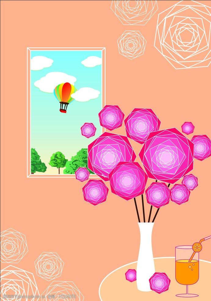 热气球简易花卉