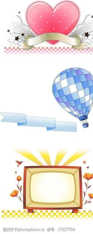 热气球矢量花边素材