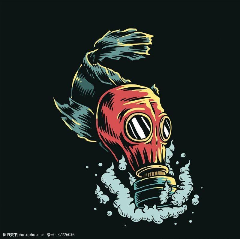 海洋鱼创意时尚海洋生物环保插画