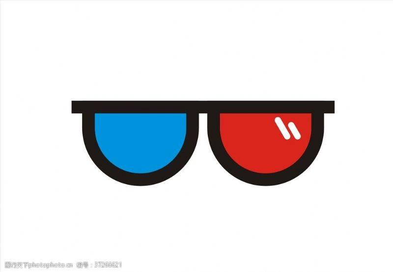 3d电影3D眼镜图标矢量