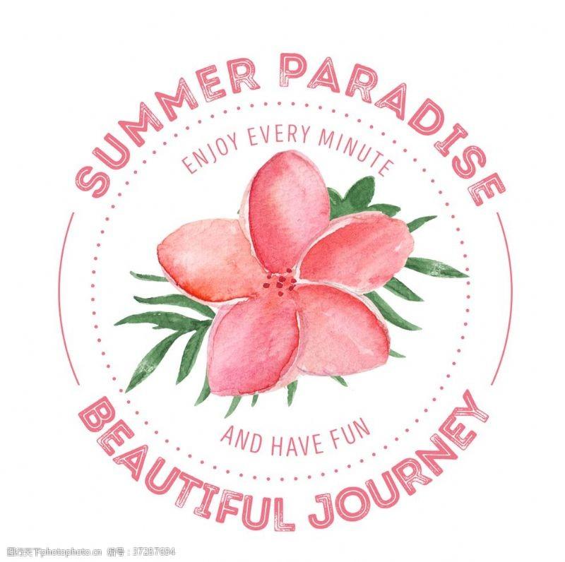 玫瑰花背景夏季手绘插画海报