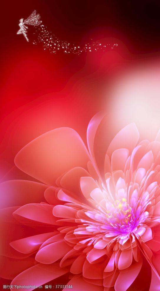 梦幻花红色鲜花背景