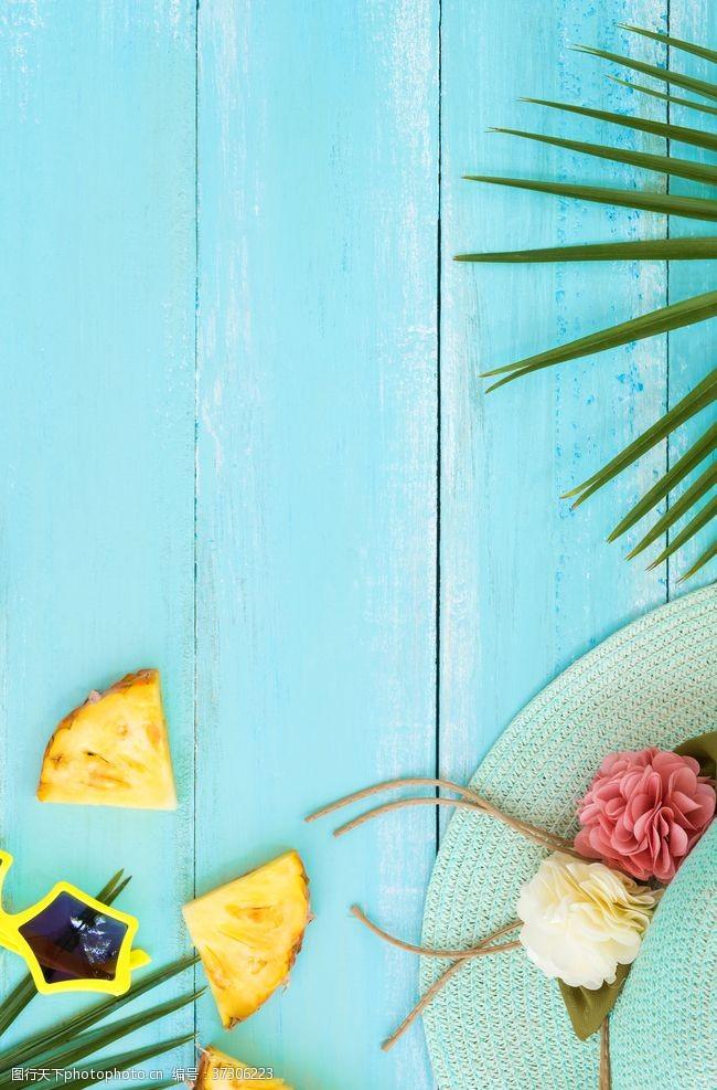 清新桌面绿色夏季水果背景素材