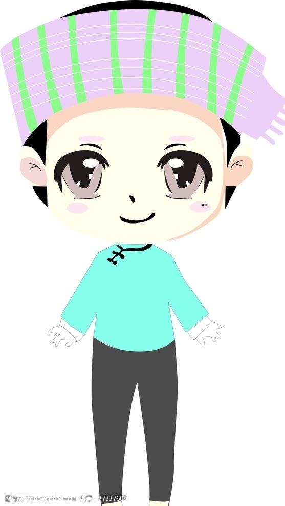 独特的广西富川蝴蝶歌形象卡通人