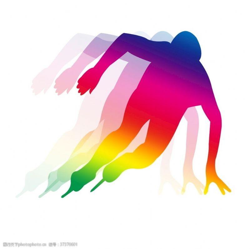 艺术体操彩色重影系列运动滑冰
