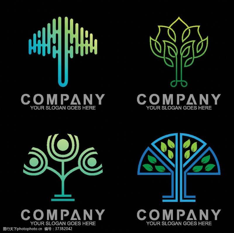 舞台卡通树树木标志