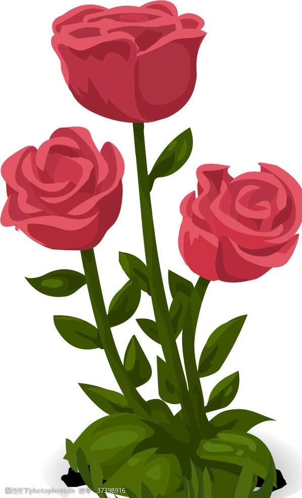 矢量卡通玫瑰花
