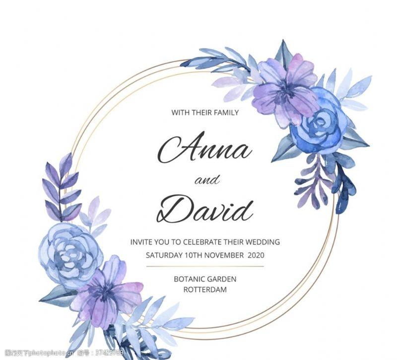 古典装饰彩绘婚礼花环邀请海报