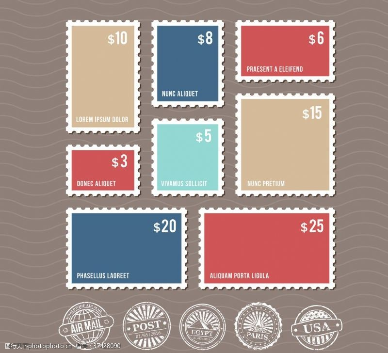 复古邮票邮戳矢量素材