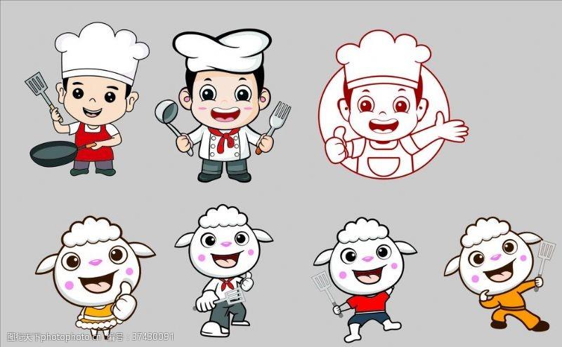 厨师卡通人物卡通人物LOGO矢量
