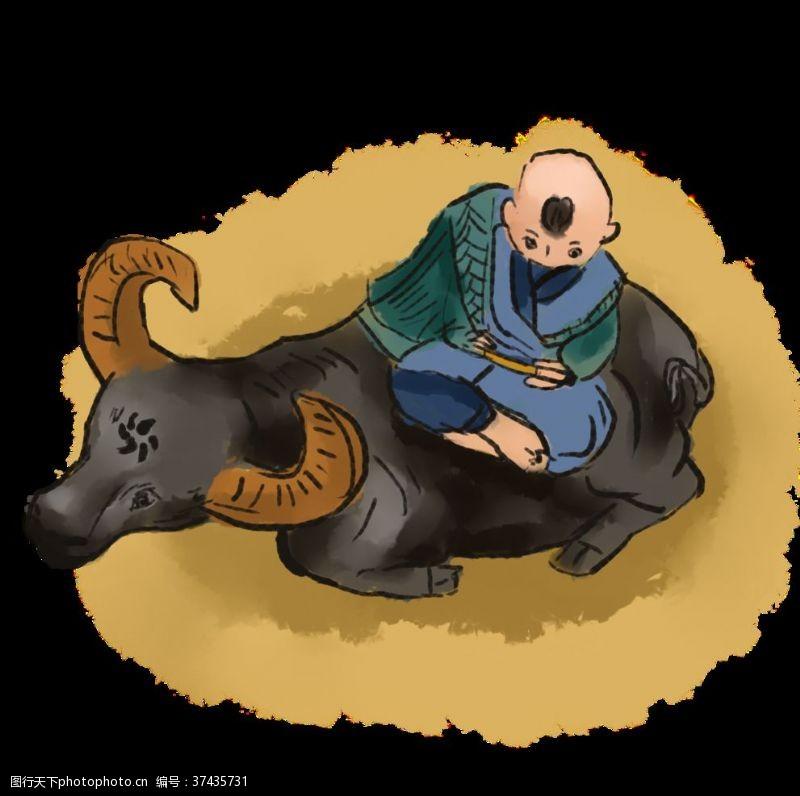 骨气水墨画牧童骑牛