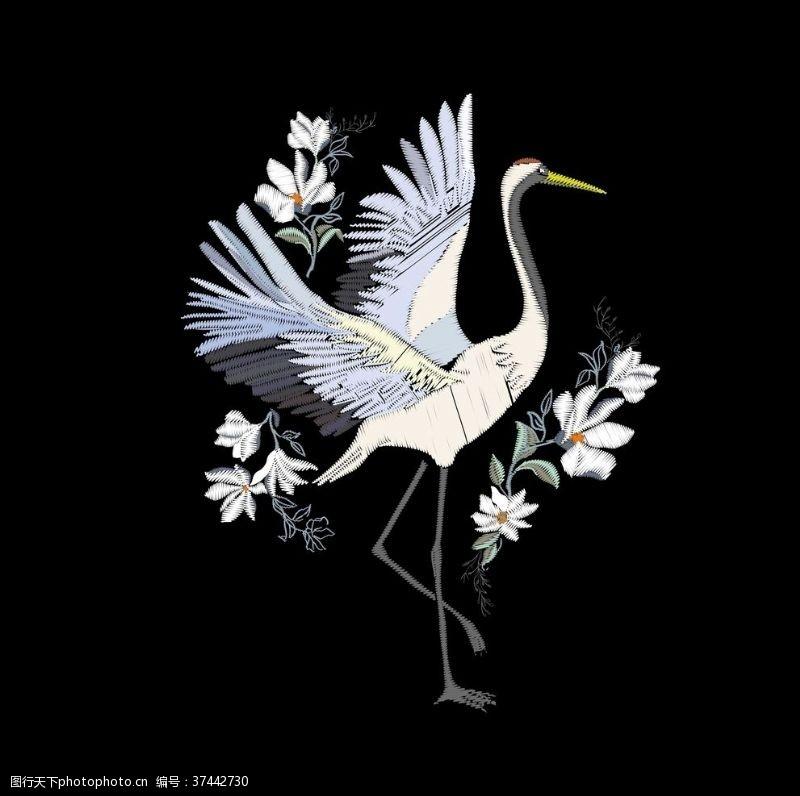 绣花图案刺绣效果服装图案动物花