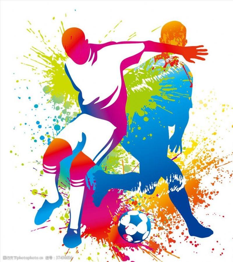 足球员踢足球