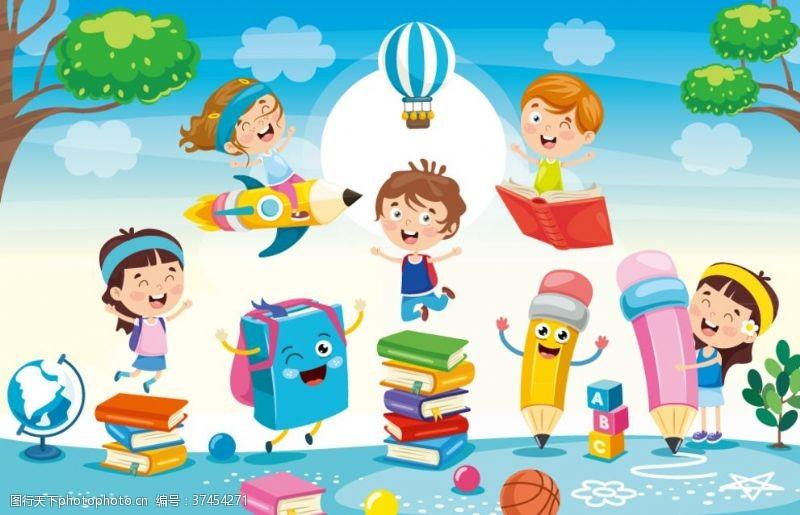 儿童幼儿6个卡通校园儿童和文具矢量图