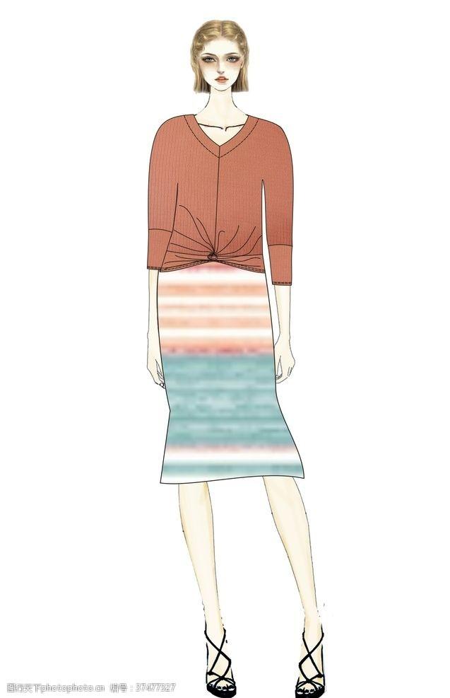 手绘人像服装设计效果图