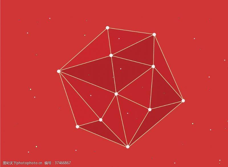 商务风经典红色立体线条背景
