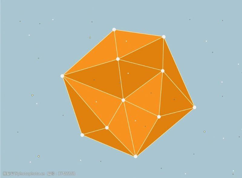 商务风橙色立体图形线条背景