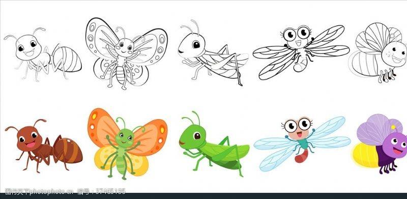 动物卡通画昆虫素描