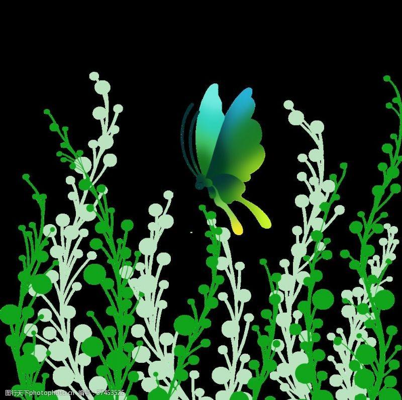 几何渐变手绘绿色蝴蝶
