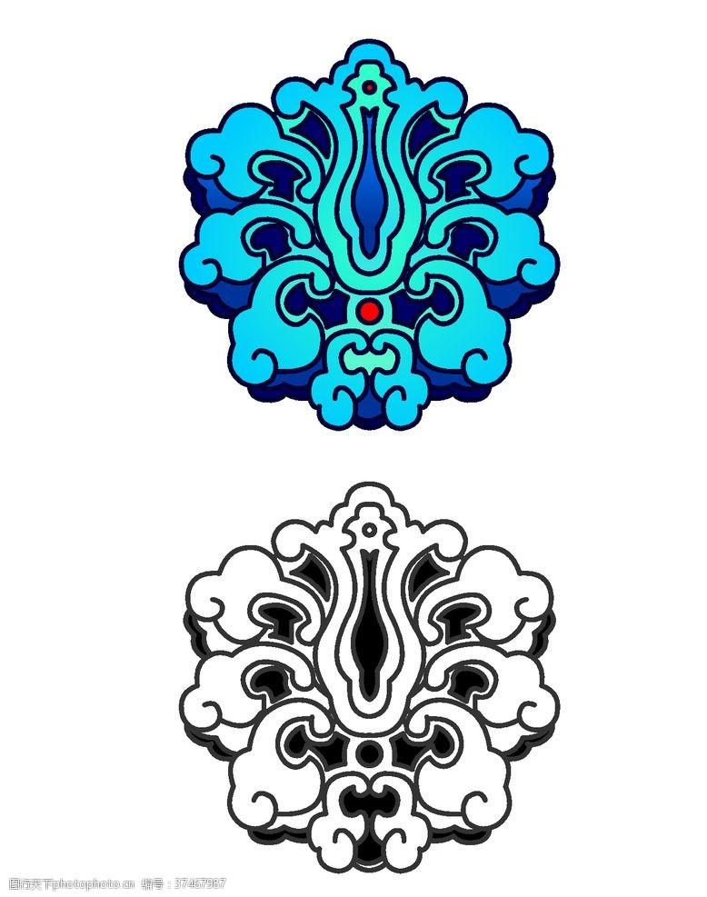 古典花纹边框中式古典云海纹