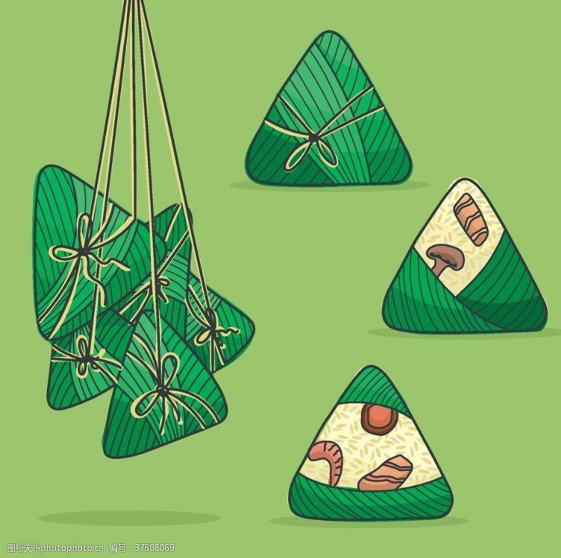 骨气端五端五节粽子绿色麻绳
