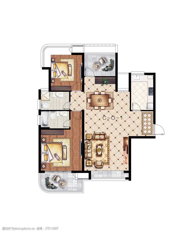 室内房地产户型加配图户型渲染