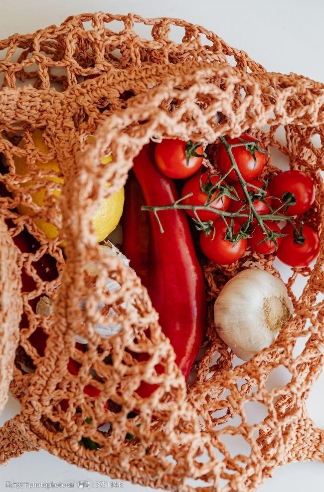 水果背景素材辣椒洋葱袋装超市蔬菜水果