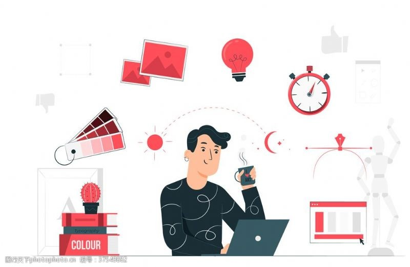 人物图库创意设计师白领工作办公矢量插画
