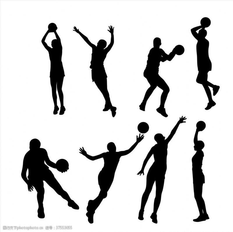 人物图库动感篮球人物剪影