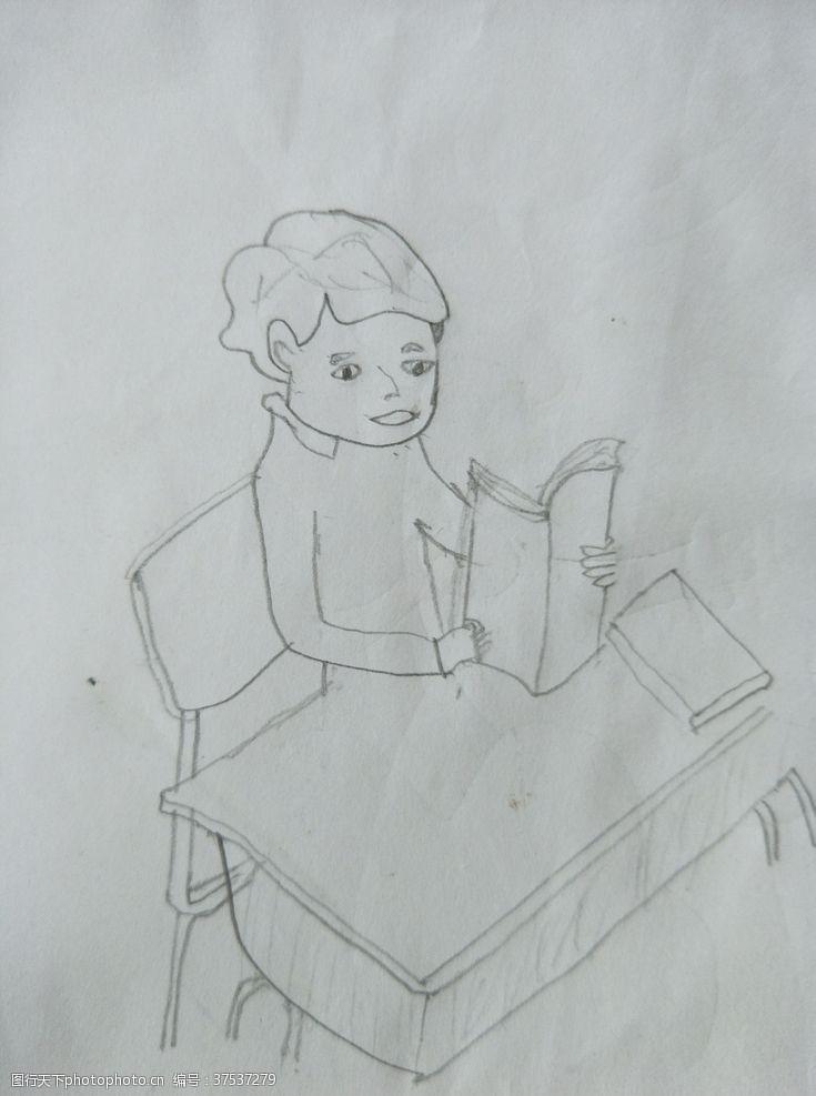 儿童幼儿读书郎简单素描儿童画
