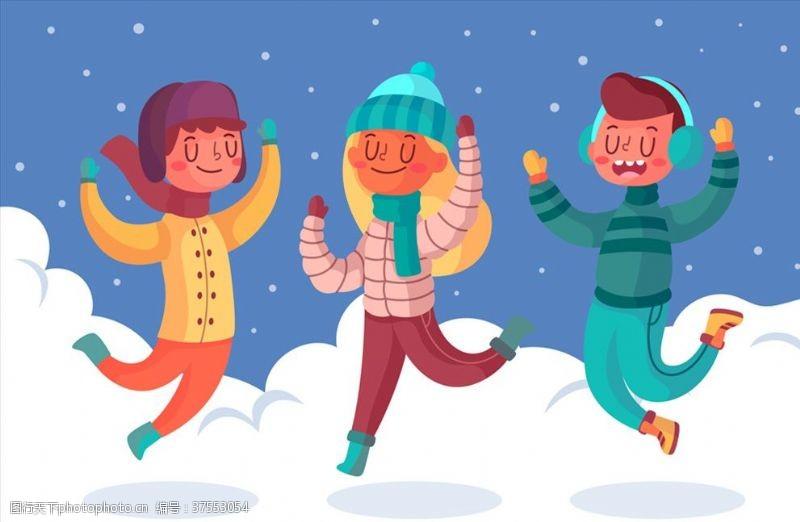 人物图库雪上跳跃的男女