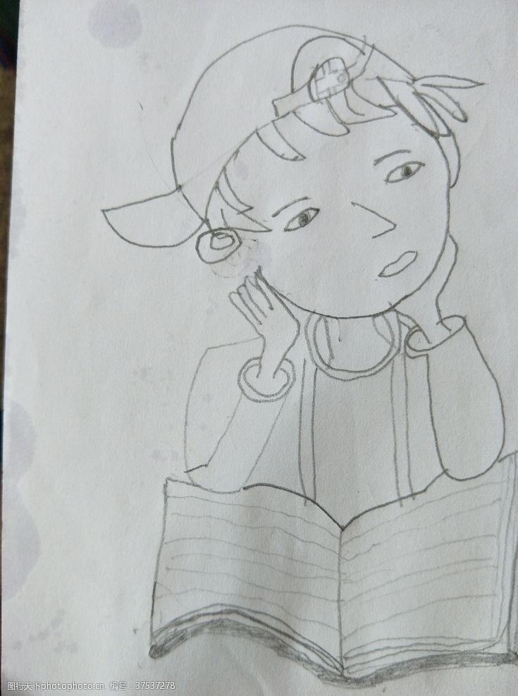 儿童幼儿读书思考郎简单快捷绘画素