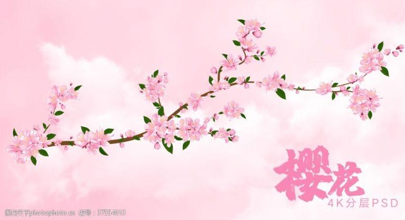 工笔梅花粉色绿叶樱花含天空背景