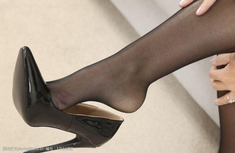 人物图库黑丝袜美女高跟鞋连裤袜