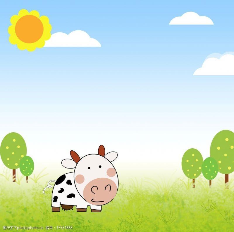 矢量卡通插画卡通奶牛
