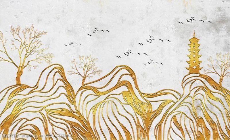 中国风背景墙新中式装饰画