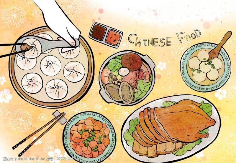 传统节日人物中国传统美食文化插画