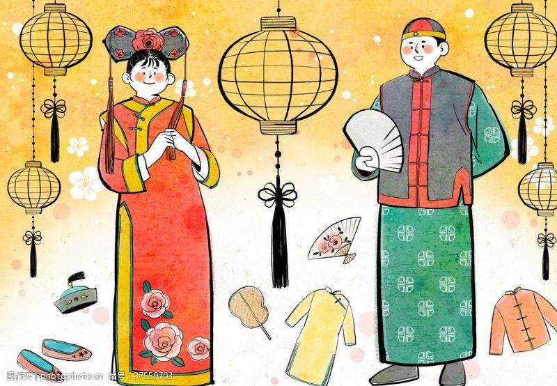 传统节日人物中国传统文化插画