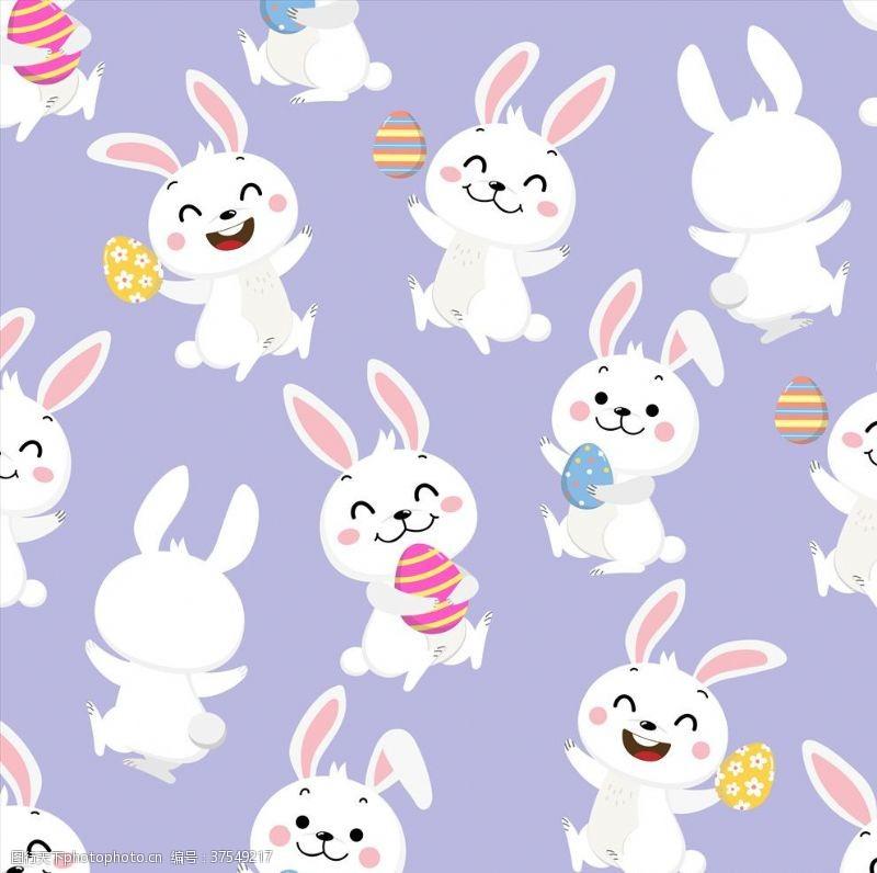 兔子底纹卡通兔子