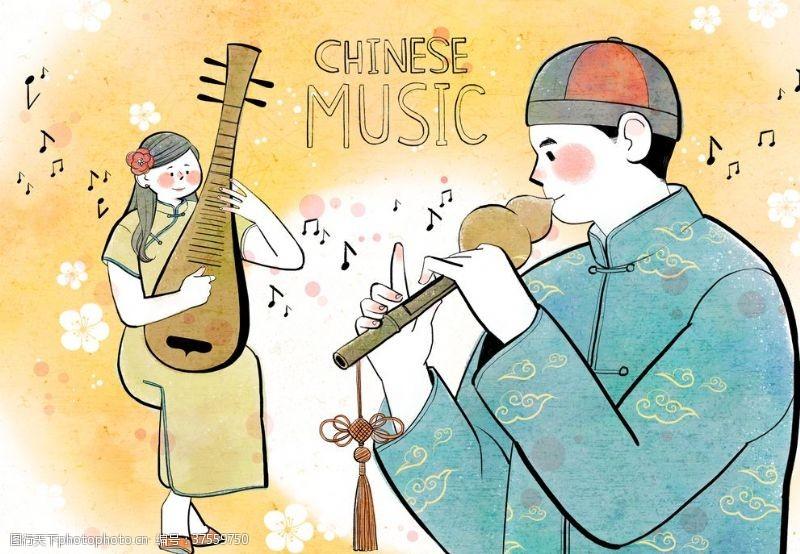 传统节日人物中国小曲传统文化