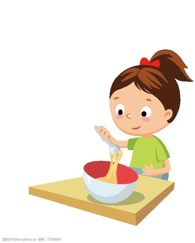 矢量卡通插画煮饭
