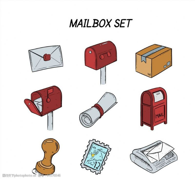 寄信手绘信箱设计矢量素材